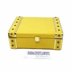 Faux Leather Organizer Storage Decoration Box with Studs Vintage Storage