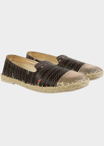8909d77054b Black And Gold Funk For Hire Women Printed Faux Leather Espadrille Flat  Shoes