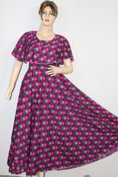 Anarkali Half Sleeve American Crepe Party Wear Kurti
