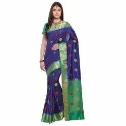 Navy Blue Colored Poly Silk Party Wear Saree