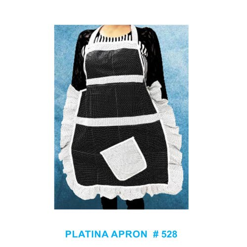 Black & White Platina Kitchen Apron, Size: Free Size