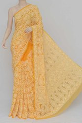 Orange Color Allover Hand Embroidered Lucknowi Chikankari Saree (With Blouse - Georgette) SM250849