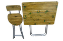 Folding Baby Table Chair Set (50x70 Cm),Wooden Top,Green Leaves