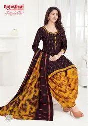 Cotton Patiala Printed Suit, Waist Size: Free