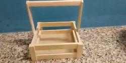Beige MDF Wooden Gift Hamper Basket, Natural