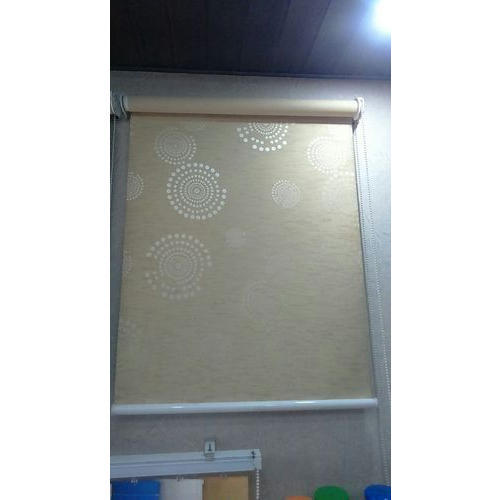 Cream And White Printed Window Roller Blind