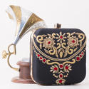 Raw Silk Dabka Work Box Clutch
