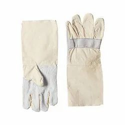 White/Off White General Canvas Leather Gloves, Size: Free Size, For Industries