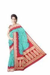 Green And Maroon Color  Banarasi Georgette Saree