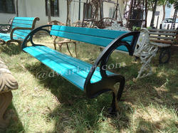 Blue Cast Iron Garden Bench