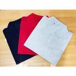 Cotton Plain Mens Fancy Collar T Shirt, Size: M To XXL