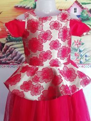 Red Women Girls Floral Gown, Size: 1-6 Yrs