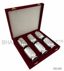 Pure Silver Designer Engraving Glass Set