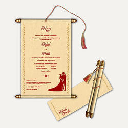 Scroll invitation card in jaipur rajasthan manufacturers multicolor scroll wedding card stopboris Image collections