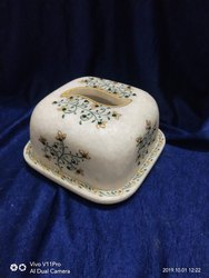 White marble butter box, Square