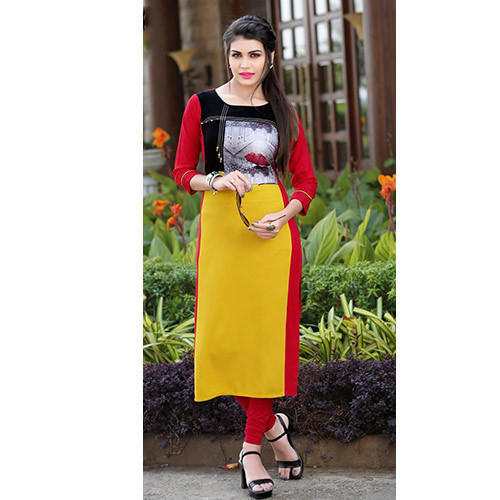 Yellow And Red And Black Formal Wear Simple Kurti Rs 650 Onwards