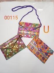 Printed Embroidered wrist bag