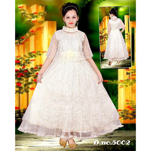 b392d422f77 Party Wear White Kids Gown