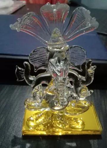 Multicolor Glass Statue Ganesh Ji