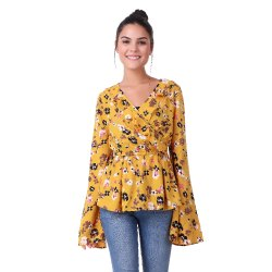 Party Wear Full Sleeve Yellow Printed Top