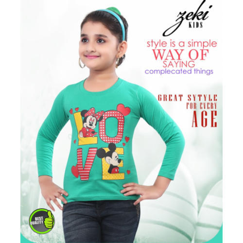 Zeki Cotton Kids Girls Full Sleeve T Shirt 82d14d006