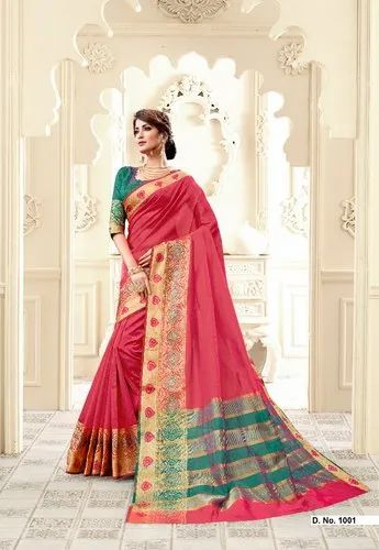 Vedant Fashion Red Party Wear Saree, 6.3 m (With Blouse Piece)