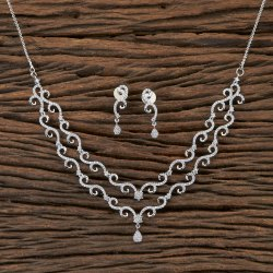 White CZ Classic Rhodium Plated Necklace 406490, Size: Regular Size And Adjustable