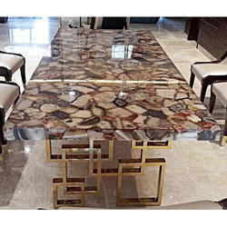 Dining Table With Facia Red Agate Stone Counter
