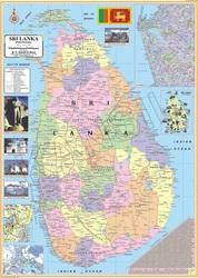 Sri Lanka Political Map.Attractive Colours Laminated Paper Sri Lanka Political Map Size