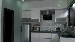 Acrylic L- Shape Modular Kitchen