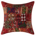 Patchwork Maroon Cushion Cover