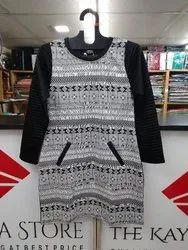 Black Printed Ladies Woolen Tunic
