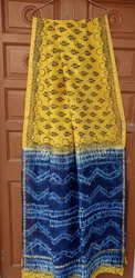 Bagru Hand PrintTie & Dye Chanderi Saree