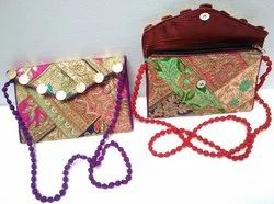 LITTLE INDIA Multicolor Zari Coin Embroidery Work Sling Bag, 150 Gm, Size: 8x4 Inch