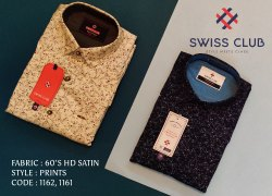 Cotton Collar Neck Swiss Club Men's Casual HD Satin Printed Shirt