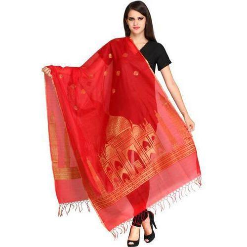 ed4e238d87 Red And Golden Silk Banarasi Dupatta, Rs 275 /piece, Q N Collection ...