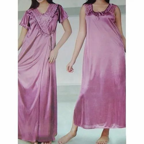 Satin Casual Womens Pink Nighty Set, Packaging Type: Packet