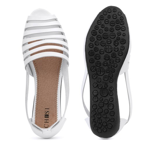 Flat Heel Ladies White Flat Sandals