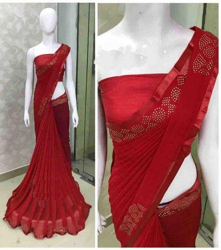 35833b7110 Embroidery Heavy Stone Work Saree at Rs 650 /piece   Vishal Nagar ...