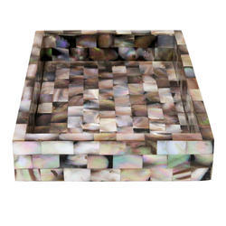 Rawsome Shack Brown Mother Of Pearl Square Tray