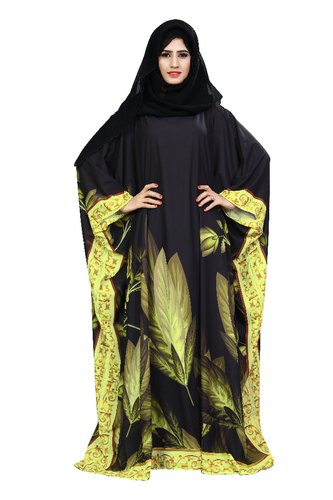 Floral Printed Kaftan Style Abaya Burqa For Women With Chiffon Hijab