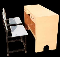 Rectangular Plywood Study Table With Two Chair, For School & Office