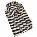 Cotton Collar Neck Mens Black Casual Wear Printed Shirt, Size: M