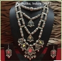 Oxidized 4 Line Jewellery Necklace Set