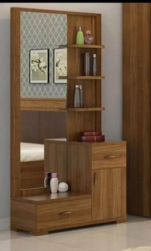 Modern Brown Wooden Dresser With Mirror