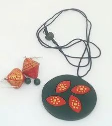 Bottle Green Casual Petal Design Terracotta Necklace Set, Size: Free Size, Necklace, Earrings