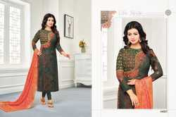 Dark Grey & Pink Georgette Embroidered Salwar Suit With Banarasi Dupatta