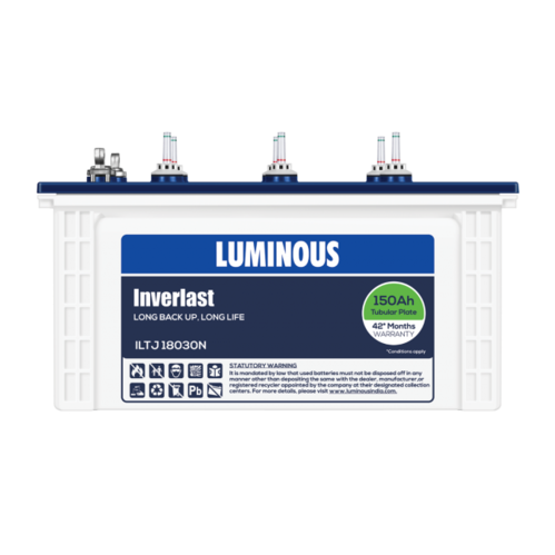 Luminous 150Ah Inverlast Short Tubular Battery ILTJ 18030, For Home And  Industrial