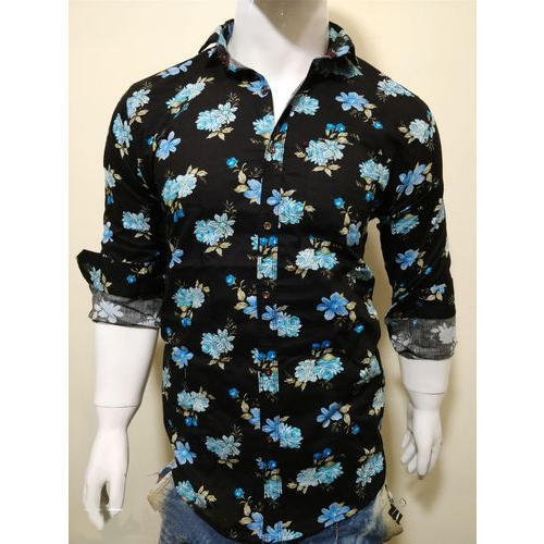 32fb8cfb45e Party Wear And Casual Wear Mens Black Flower Printed Shirt