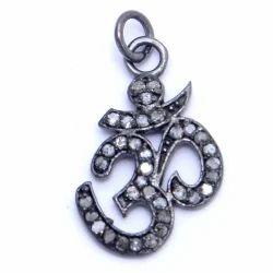 Pave Diamond OM Symbol Charm Pendant